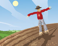 Scarecrow. An illustration of a scarecrow in a plowed field with patchwork fields in the background under a blue sky royalty free illustration