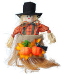 Scarecrow. Image of a scarecrow made by straws and clothes photographed in a studio against a white background Royalty Free Stock Photo
