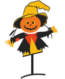 Scarecrow. Illustration of a funny scare crow isolated on white + vector Stock Photography