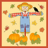 Scarecrow. Autumn vector of scarecrow , leaves and pumpkins Stock Photos