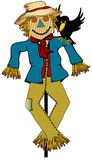 Scarecrow. Colorful Scarecrow with a smile and black bird on his shoulder stock illustration