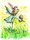 Scarecrow. Two birds sitting on scarecrow.PIcture I have created myself with watercolors Stock Photo