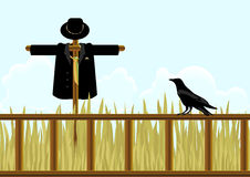 Scarecrow. Field, scarecrow in a suit and a crow. Vector Royalty Free Stock Photos
