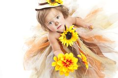 Scarecrow. Adorable toddler dressed in a scarecrow costume.  Isolated on white with room for your text Royalty Free Stock Photography