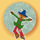 Scarecrow arms open wide. Scarecrow with green blue moon - pumpkin head   open arms dancing Royalty Free Stock Photography