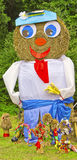 Scarecrow av sugrör Arkivbild