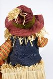 Scarecrow back. Isolated shot of scarecrow back sitting in a bale of hay and wearing a hat stock image