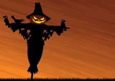 Scarecrow Background. Halloween background with a scarecrow and empty space for your text Royalty Free Stock Image