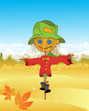 Scarecrow background. Autumn sketch with stylized scarecrow Royalty Free Stock Photo