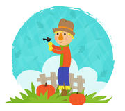 Scarecrow With Bird. Clip art of a scarecrow and a bird standing in a field with pumpkins, in front of a fence and decorative background. Eps10 Royalty Free Stock Photos