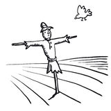 Scarecrow and bird (vector) Royalty Free Stock Images
