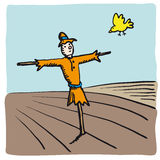 Scarecrow and bird (vector). Scarecrow and bird (from cmyk to rgb royalty free illustration