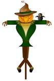 Scarecrow with Black Crow Bird Stock Photos