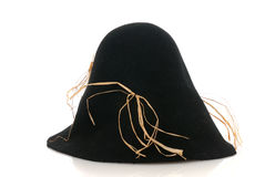 Scarecrow black felt hat with some straw Royalty Free Stock Photo