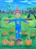 Scarecrow boy. In the field painting Royalty Free Stock Image
