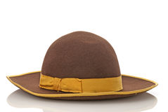 Scarecrow brown felt hat with with yellow loop. Isolated on white background Royalty Free Stock Photos