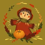 Scarecrow in circle leaf frame with pumpkin. Autumn theme. Vector illustration vector illustration