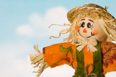 Scarecrow Closeup Against Blue Sky Royalty Free Stock Images