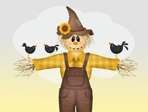 Scarecrow and crows. Nice illustration of scarecrow and crows Vector Illustration