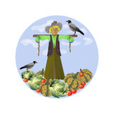 A scarecrow and crows. Vector illustration Royalty Free Stock Photos