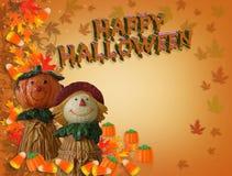 scarecrow för korthalloween lycklig pumpa Arkivfoto