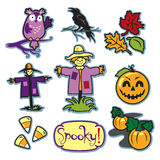Scarecrow fall illustration set with pumpkin patch and crow Royalty Free Stock Photos