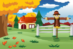 Scarecrow in the Fall season. A vector illustration of scarecrow in the Fall season Royalty Free Stock Images