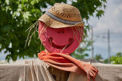Scarecrow in the farm. Funny scarecrow in the farm Stock Photo