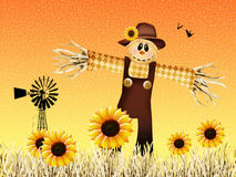 Scarecrow in the farm. Illustration of scarecrow in autumn Stock Photos