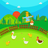 Scarecrow in the field full of ducks and chicken. Illustration Stock Photos