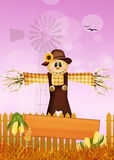 Scarecrow in the fields Royalty Free Stock Photography