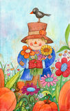 Scarecrow With Flowers. Watercolor illustration of a scarecrow in a field of flowers and pumpkins holding flowers Stock Photo