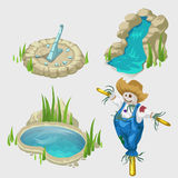 Scarecrow, fountain, pool and decorative elements royalty free illustration