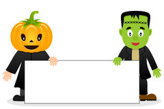 Scarecrow & Frankenstein Blank Banner. Two Halloween monsters, a cute scarecrow with a pumpkin head and Frankenstein, holding a blank banner. Eps file available royalty free illustration