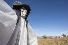 Scarecrow. Frightful-looking scarecrow in the pumpkin patch Stock Images