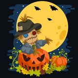 Scarecrow In a Full Moon Behind Pumpkins stock illustration