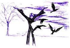Scarecrow in the garden and crows flying over it. Figure ballpoint pen.  stock illustration