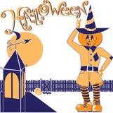 Scarecrow Halloween. Halloween Costume party, scarecrow, moon, fence, pumpkin Vector Illustration