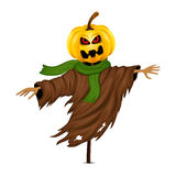Scarecrow for Halloween isolated. On white background Royalty Free Stock Images