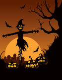 Scarecrow in Halloween night. Vector illustration on a Halloween scarecrow with a garden Stock Images