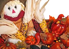 Scarecrow With Harvest. Scarecrow in a basket with autumn harvest of corn, pumpkins and squash.  Home decor Royalty Free Stock Photos