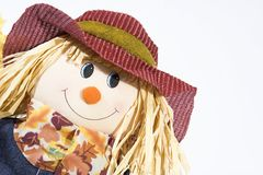 Scarecrow head. Isolated shot of scarecrow head smiling with large hat and straw hair royalty free stock images