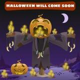 Scarecrow head pumpkin Royalty Free Stock Photography