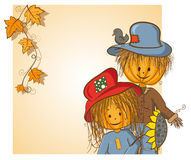 Scarecrow and his girlfriend greeting card. Thanksgiving or Halloween greeting card - Scarecrow and his girlfriend - every object on separate layer vector illustration