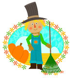 Scarecrow Holding Rake. Cute scarecrow with a rake is standing in front of a field and a pumpkin. Eps10 Stock Photos