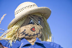 Scarecrow. Homemade scarecrow stuffed with straw in an autumn setting Stock Photos
