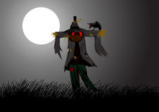 Scarecrow. Illustration of a scarecrow on field during full moon Royalty Free Stock Photography