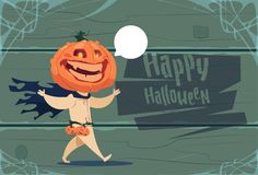 Scarecrow, Jack Lantern Pumpkin Happy Halloween Banner Party Celebration Concept. Flat Vector Illustration Stock Image