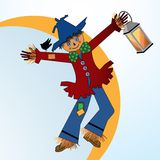 Scarecrow. With lantern and crow  fall farm  Halloween concept Stock Image