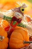 Scarecrow. And little pumpkins on defocised autumn background royalty free stock images